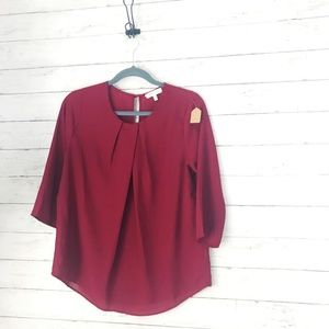 Monteau Deep Red Sheer Blouse - Size Large